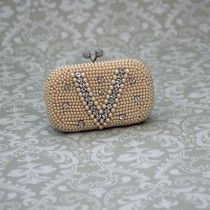 Champagne Pearl Bead and Diamante Evening Bag
