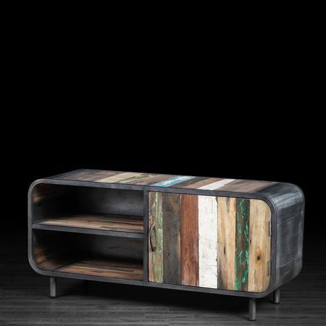 Meuble télévision 1 porte et 2 tablettes en métal et bois recyclé de vieux bateaux | Artemano