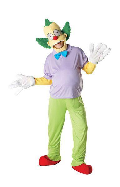 Naamiaisasu; Krusty the Clown Deluxe. Lisensoitu Krusty the Clown Deluxe naamiaisasu standardikokoisena. Naamiaisasu sisältää: - Yläosan - Housut - Päähineen - Hanskat - Kengänpäälliset