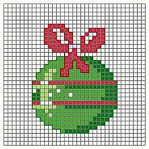 Cross stitch chart. A Green Christmas Tree Ornament. #cross_stitch