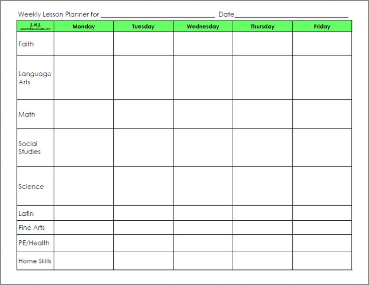 blank preschool weekly lesson plan template | lesson ...
