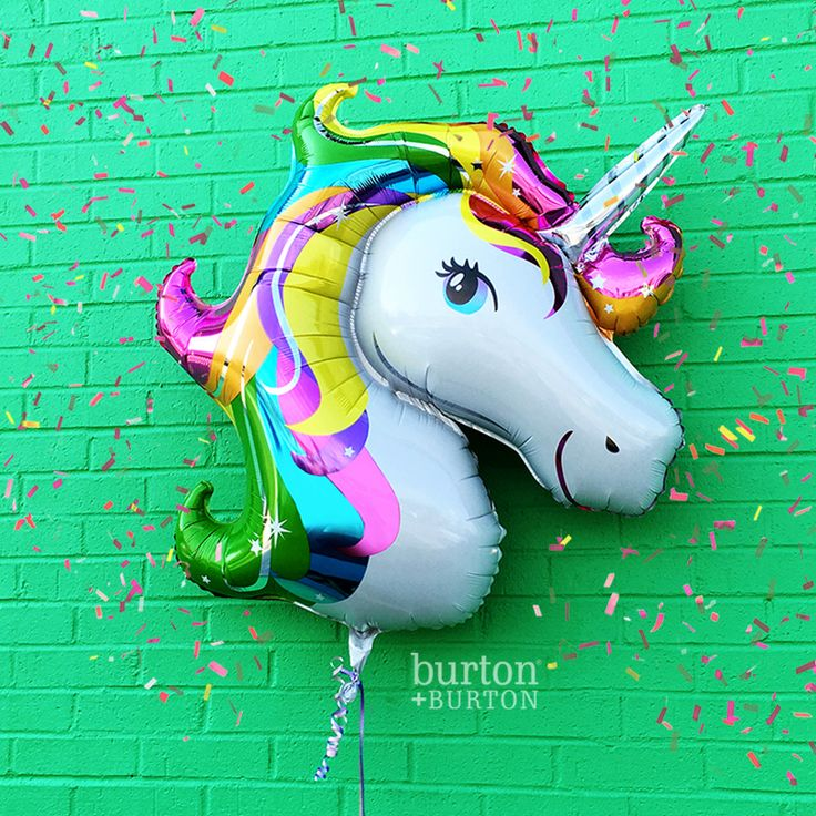 "Mondays are better with unicorns! Have your own magical party with our 33"" balloon! #unicorn #party #rainbow #birthday #unicornhair #confetti"