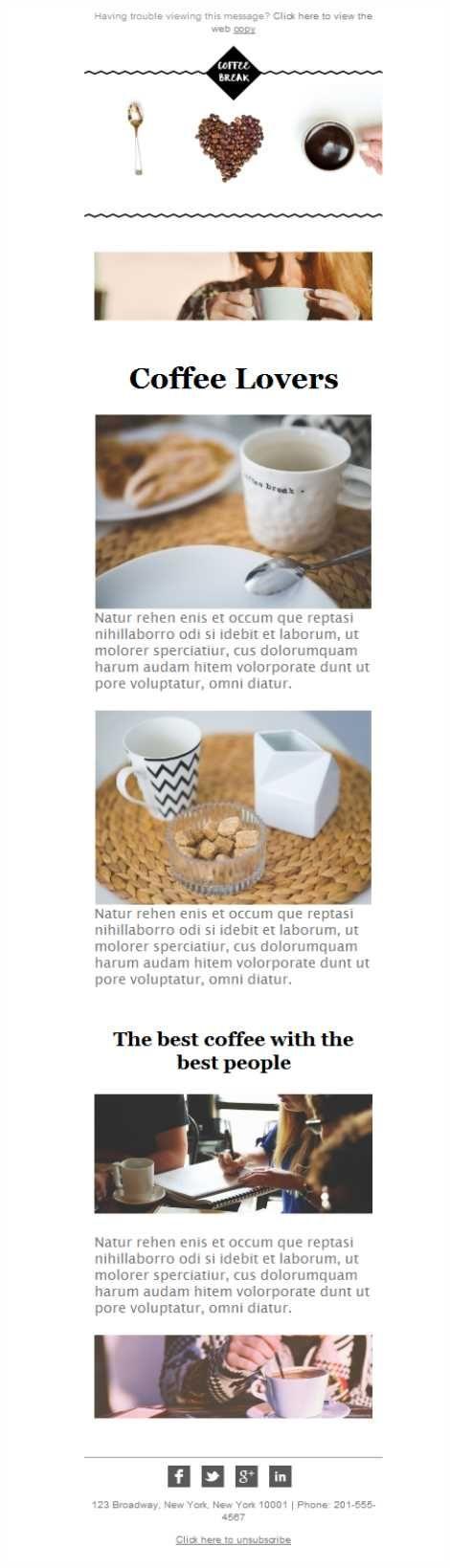 Amantes del café, aquí tenéis vuestra plantilla de newsletter responsive diseñada por Mailify. ¡Impecable!