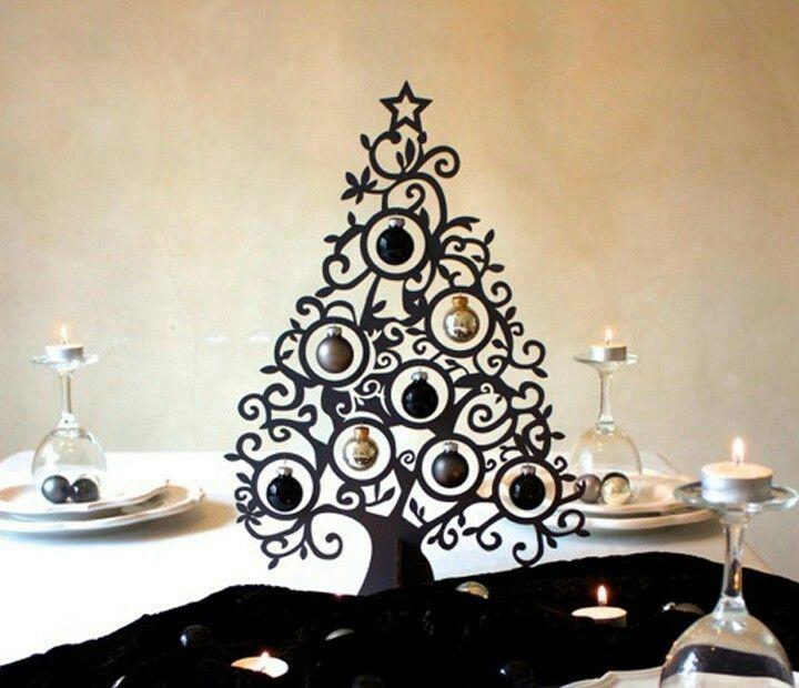 Christbaum schwarz Metall Deko Weihnachten