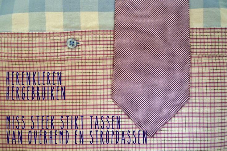 stropdasTAS HERENkleren hergebruikt: 1 stropdas + 3 overhemden = 1 tas zie blog voor foto's van de tassen