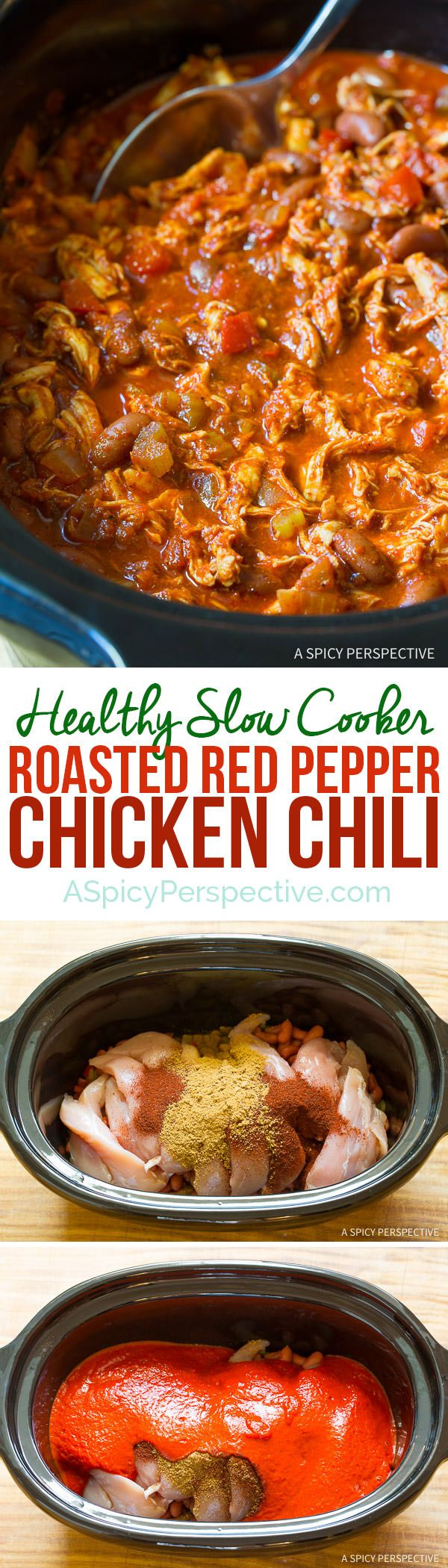 Healthy Slow Cooker Roasted Red Pepper Chicken Chili Recipe (Gluten Free & Dairy Free) | ASpicyPerpective.com - sub sweet potatoes for beans