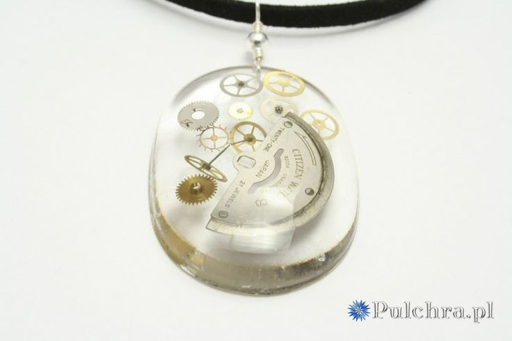 Steampunk resin necklace with watch cogs from Pulchra by DaWanda.com