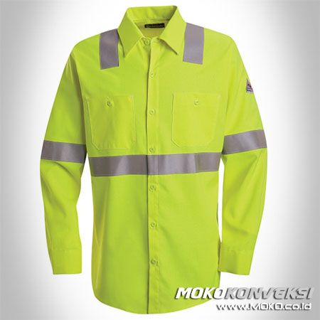 Baju Kerja Lapangan Seragam Wearpack Safety Lengan Panjang Warna Hijau Stabilo