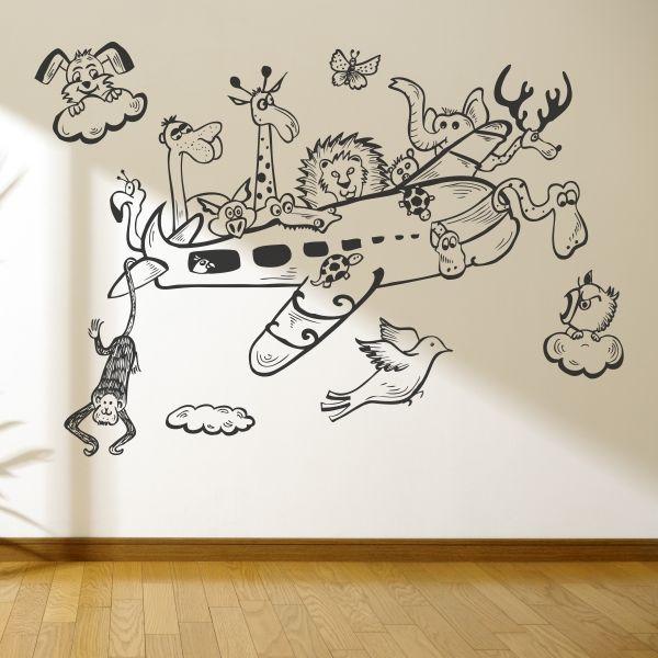 Vinilo decorativo de un avi n lleno de animales de dibujos for Vinilos para piezas