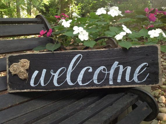 Lovely Handmade welcome sign with burlap by Cynthiaswoodensigns, $15.00