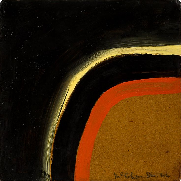 Colin McCahon Waterfall synthetic polymer paint on board signed and dated Dec '64; signed and dated verso; original Peter Webb Galleries label affixed verso 305 x 305mm