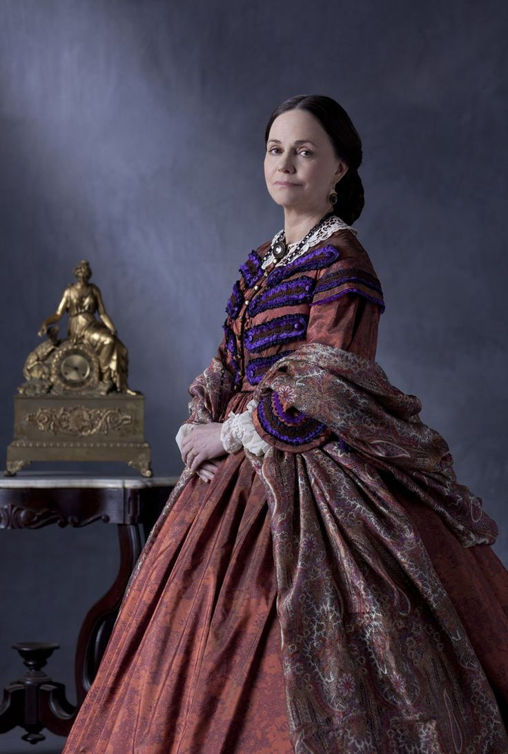 "Sally Field in costume as Mary Todd Lincoln in the 2012 movie ""Lincoln"" 