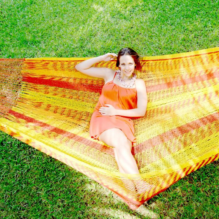 Island Bay XXL Ocean Stripe Mazatlan Mayan Double Hammock with Adjustable Stand Bronze Nylon/Sunset Stripe