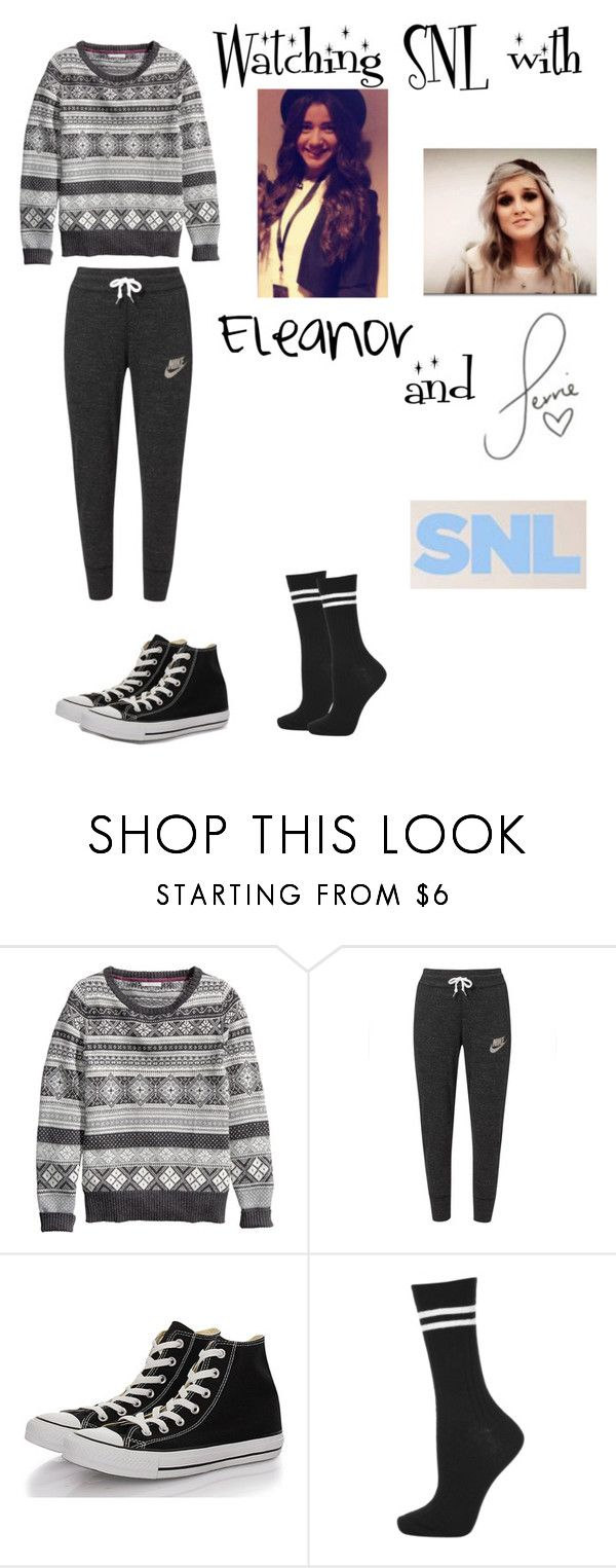 """""""Watching SNL with Eleanor and Perrie"""" by tidal-waving ❤ liked on Polyvore featuring H&M, NIKE, Converse, Topshop and Calder"""