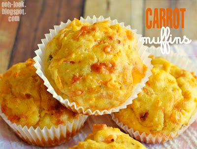 Carrot Muffins  makes 12  Ingredients  1 medium carrot, peeled and grated  1 ¾ cups plain flour  2 tsp baking powder  3 tblsp chopped parsley  100g grated cheddar cheese  1 egg  ¾ cup buttermilk  ½ cup vegetable oil