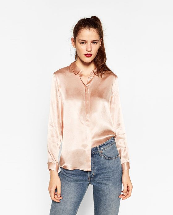 Image 2 of SATEEN BLOUSE WITH BACK DETAIL from Zara