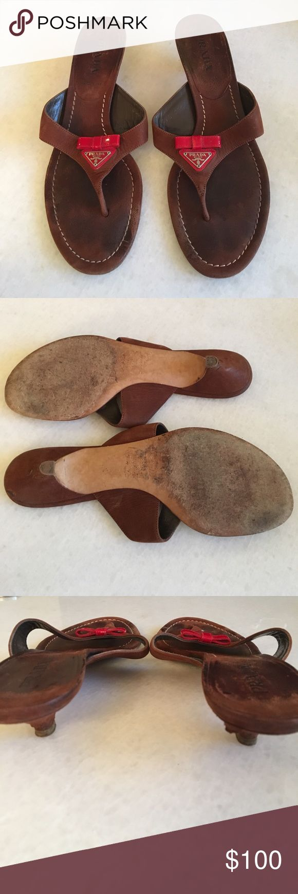 Prada Flip Flop Sandler in Brown Leather These Sandler are extremely comfortable and have a red patten leather bow. 📦 If you live in Chicago you could do a pick up or try on. Please ask any questions.. Prada Shoes Sandals