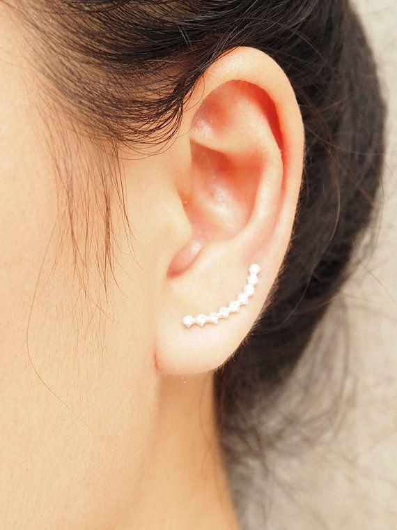 CZ diamant courbe oreille grimpeur boucles par 925silverflames