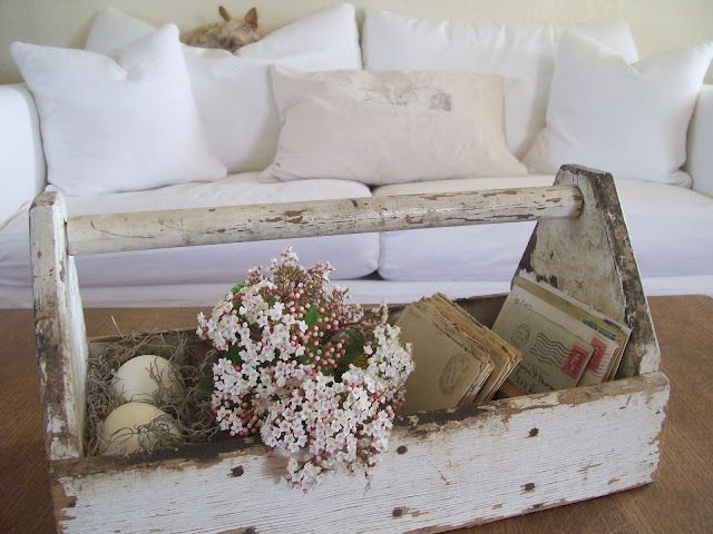 Secret Garden Cottage: A CRUSTY VINTAGE TOOL CADDY and VIBURNUM BLOSSOMS