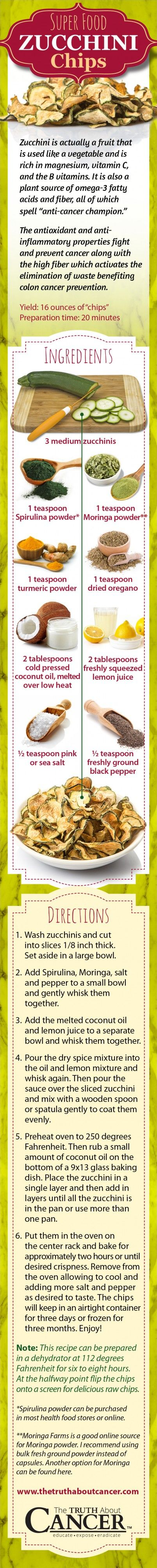 Here is a yummy chips alternative recipe you can try at home. This recipe is far healthier than normal potato chips, as zucchini is low in carbohydrates, plus you are baking them with coconut oil instead of sunflower oil. You can also prepare these zucchini chips in a dehydrator and avoid baking completely. Click on the recipe to get the scoop on why even kettle potato chips are bad for you...
