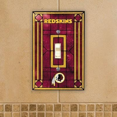 "NFL Art Glass Switch Cover Team: Washington Redskins by The Memory Company. $12.95. Measures 3.25"" x 5.25"". Officially licensed. Includes 2 screws. Vibrant team colors. Unique glass construction. NFL-WRS-461 Team: Washington Redskins Picture shown in Arizona Cardinals's logo Features: -Art glass switch cover.-Available in several teams.-Material: Glass.-Fits standard single wall-switch outlet.-Indoor use only.-Officially licensed by NFL. Includes: -Includes two s..."