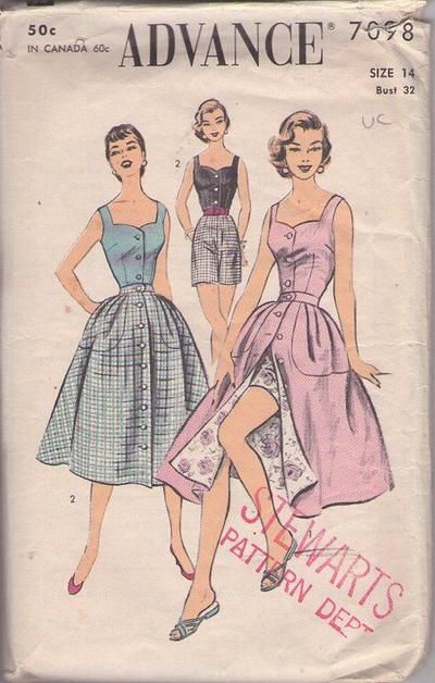 MOMSPatterns Vintage Sewing Patterns - Advance 7098 Vintage 50's Sewing Pattern SASSY Rockabilly Pinup Girl KITTEN Sweetheart Neckline Criss Cross Back Straps Camisole Sun Top, Front Buttoned Wrap Skirt & High Waisted Shorts, 2 Piece Playsuit Size 14