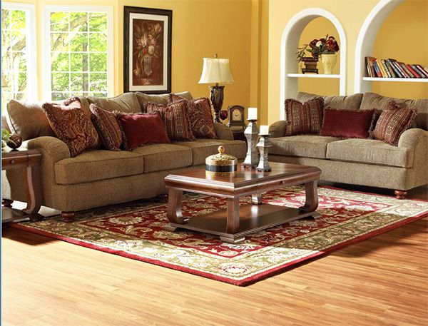 gold and Burgundy Sofa | Gold living room decor, Brown ...