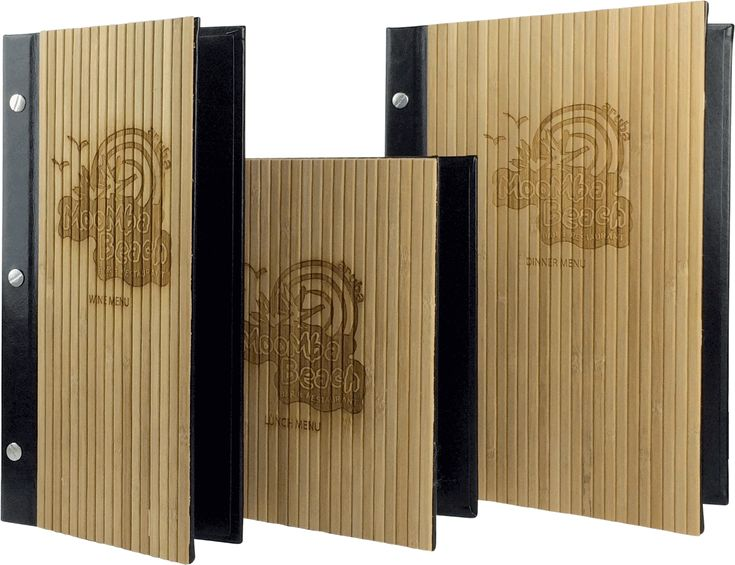 Wood and Bamboo menu covers are clean, natural and in style. Add a personal touch with custom menu covers today!