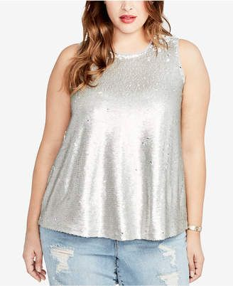 2e90d0c94a Rachel Rachel Roy Trendy Plus Size Reversible Sequined Top  plus  tops   women