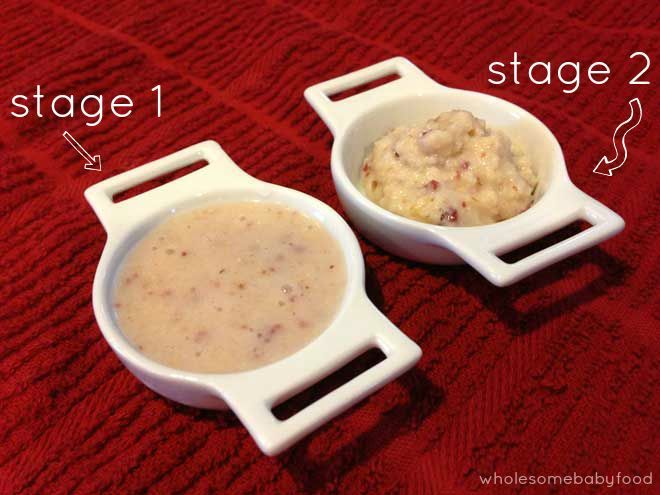 diagram showing the consistency between stage 1 and stage 2 baby food