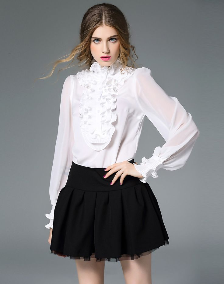 #VIPme White Ruffle Long Sleeve Pleated Bodysuit Blouse ❤️ Get more outfit ideas and style inspiration from fashion designers at VIPme.com.