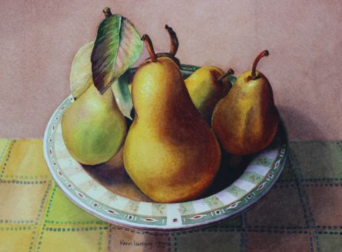 "JUST PEARS Karin Isenburg WATERCOLOUR 9"" H X 12"" W"