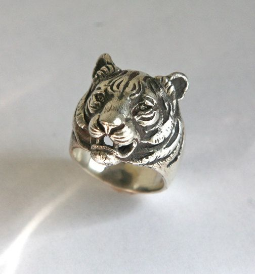 biker tiger joe men s r sterling rings ring silver big bengal