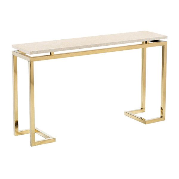 "An elegant console table with cream-hued marble top paired with gold stainless steel frame. - Dimensions: 52""L x 13""W x 30""H - Materials: Stainless Steel; Marble - Finish: Shiny Brass; Cream Disclaime"