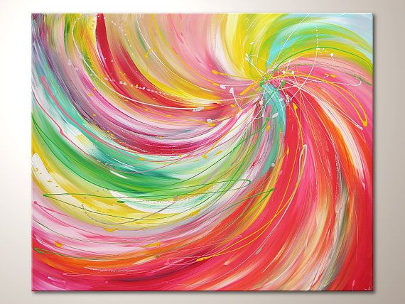 Original modern art painting color dance abstract contemporary artwork wall decoraticon