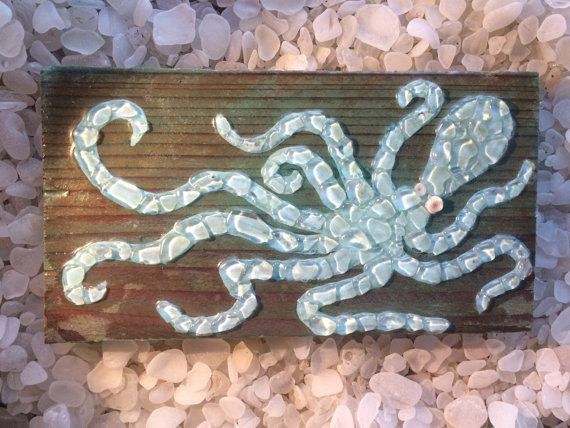 Sea Glass Art Octopus wall decor Sea glass mosaic octopus baby blue wood beach glass octopus with seashells beach glass art sea glass mosaic