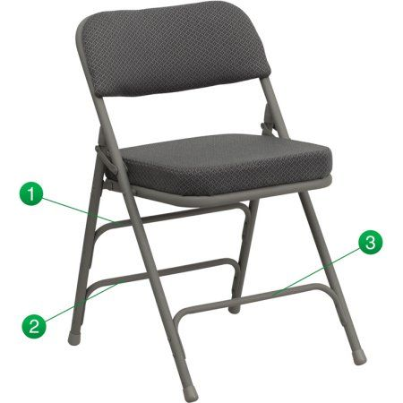 Flash Furniture 2-Pack Hercules Series Premium Curved Triple Braced and Double Hinged Fabric Upholstered Metal Folding Chair, Multiple Colors, Gray