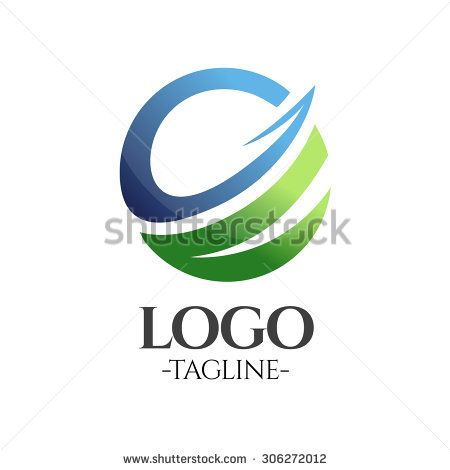 Globe Business vector logo template in blue and green