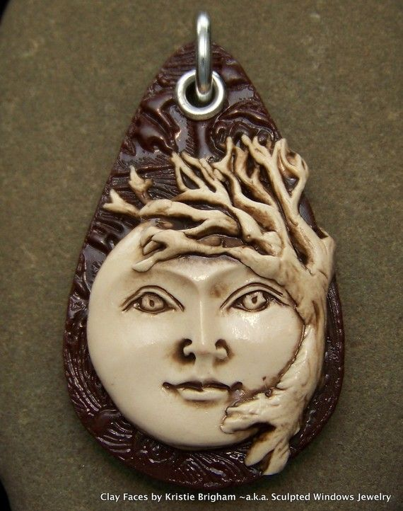 TREE of LIFE Goddess Face Pendant or Bead by sculptedwindows
