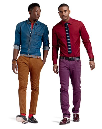 : Colors Combos, Crazy Colors, Jeans Shirts, Purple Dresses, Purple Pants, Men Fashion, Colors Wheels, Bit Colors, Men Wear