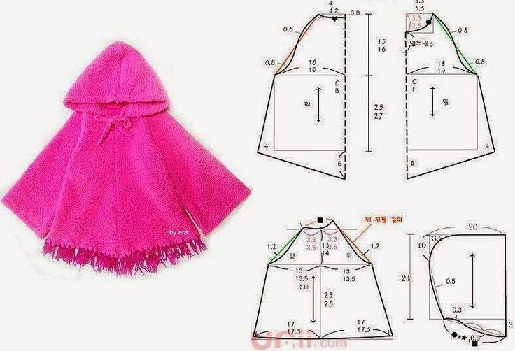 Capa para criança fácil de cortar e costurar. Este modelo de capa é um excelente agasalho de inverno para as crianças. Escolha o tecido em função do uso qu