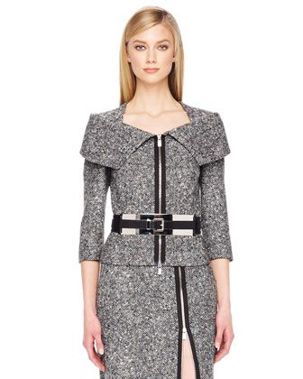 Michael Kors Zip-Front Tweed Jacket, Zip-Slit Tweed Skirt & Leather Mirror Belt - Bergdorf Goodman