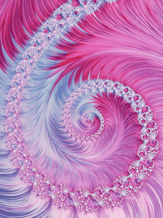 Crystal Spiral Abstract Digital Art by Oksana Ariskina. Blue and Pink abstract circle swirl fractal Brilliant illustration. Graphic abstract background. #OksanaAriskina  Available as poster, greeting card, phone case, throw pillow, framed fine art print, metal, acrylic or canvas print with my fine art photography online: www.oksana-ariskina.pixels.com