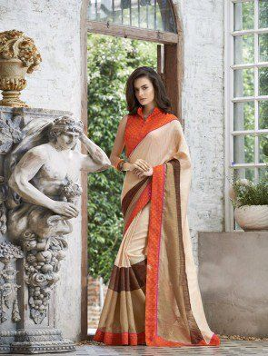 Brown and Purple Linen Printed Saree