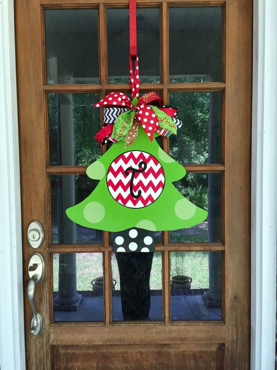 Personalized Christmas Tree Wooden Door by SouthernWhimsyStyle