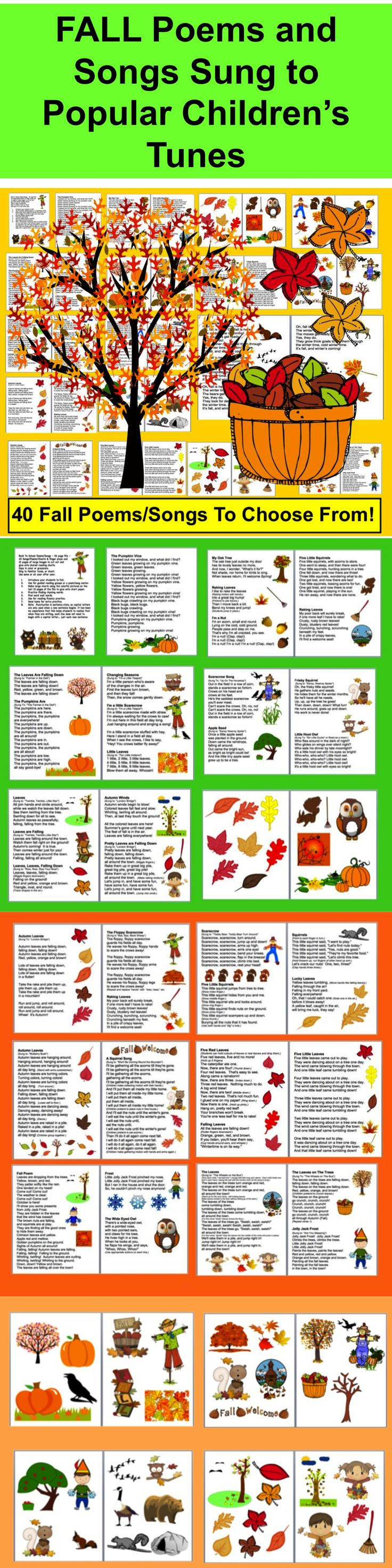 $ Fall Poems Songs, Chants and Finger Plays for Fall or Autumn Shared Reading or Fluency  ★36 page file ★40 Fall Poems/Songs/Chants and finger plays ★12 pages of large Fall images to cut out and  glue onto shared reading charts. ★Copy in color or grayscale.  ★Sing these fall poems to familiar tunes, or chant.  ★Use some or all year after year during the season of Fall.