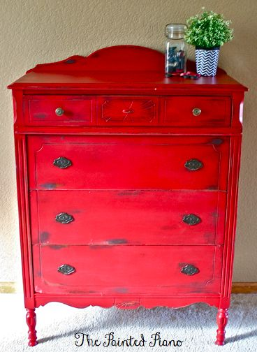 Red Painted Distressed Dresser Annie Sloan Chalk Paint ASCP Graphite & Emperor's Silk