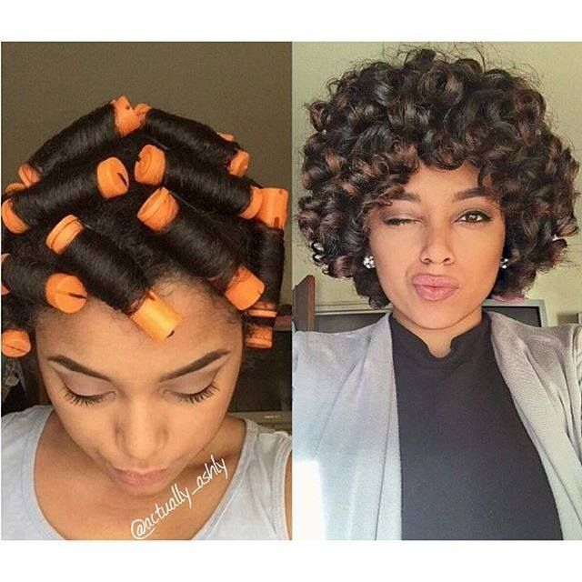 Image result for perm rod roller set on relaxed hair