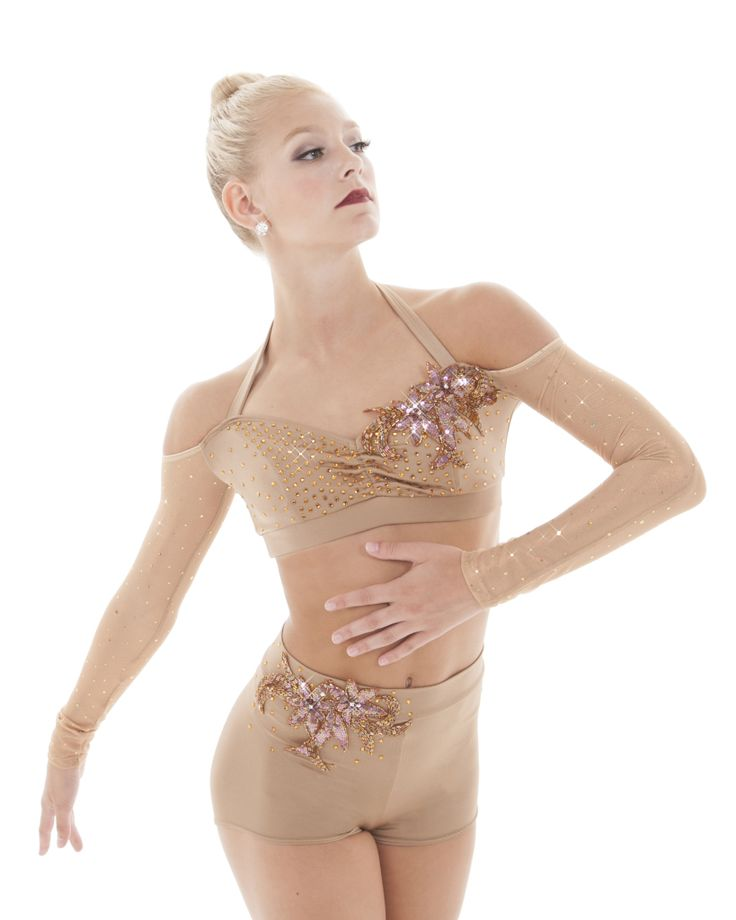 High waist short with crop top Dance costume with applique. Madison Applique.Nude/light beige dance costume with sleeves and off the shoulder. The Line Up