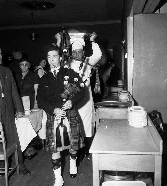 The piping in of the haggis at a Robbie Burns Night celebration, Lethbridge, Alberta, January 25, 1958. #1950s #celebrations #vintage #Canada